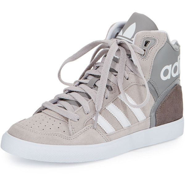 Adidas Extaball High-Top Sneaker ($70) ❤ liked on Polyvore featuring shoes, sneakers, grey, gray flat shoes, high top shoes, gray sneakers, patent leather sneakers and platform shoes