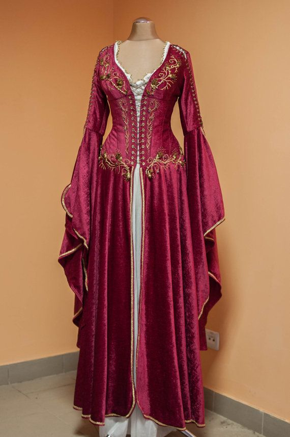 A Medieval Fantasy Crimson Dress FREE SHIPPING by DressArtMystery