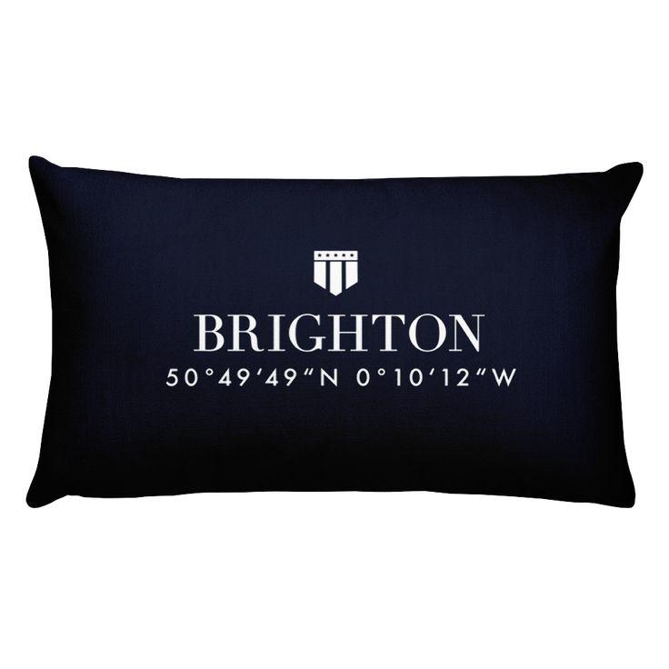 Brighton England Pillow with Coordinates