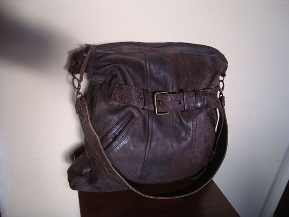 bag with brown leather/// recycled leather by BagsBand on Etsy