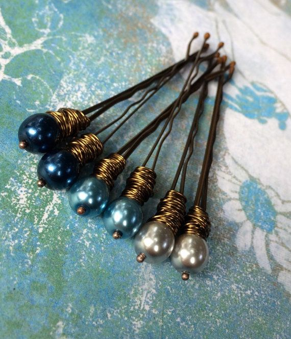 Blue pearl bobby pin beaded hair pin for wedding by crushedcameo