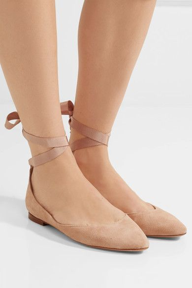 Heel measures approximately 10mm/ 0.5 inches Beige suede Buckle-fastening ankle strap Made in Italy
