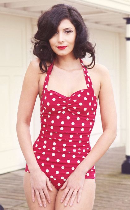 retro red polka dot bathing suit  j'adore!