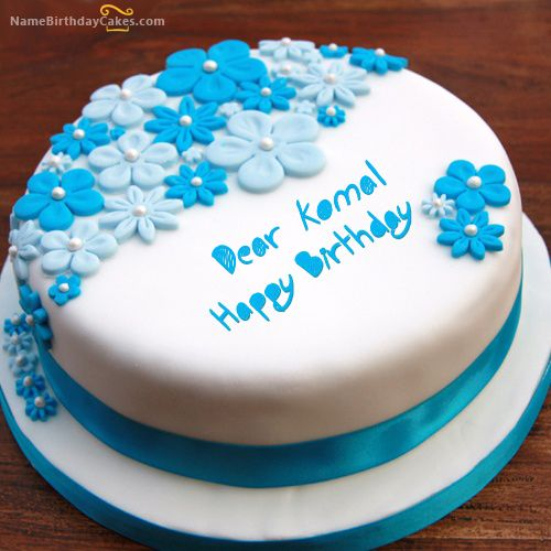 The Name Dear Komal Is Generated On Birthday Ice Cream Cake With