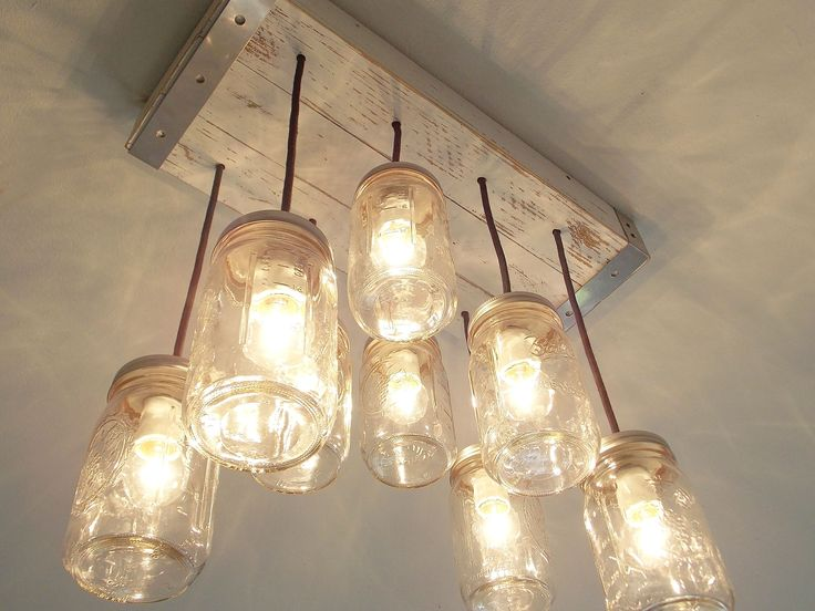 This Is A Beautiful 8 Light Mason Jar Chandelier Perfect For Kitchen Lighting Or Dining Room Has Vintage Housewares Appeal With