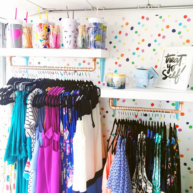 Ideas for your Mobile Boutique. Patterns & Pops fashion truck features a colorful polka dot statement wall, and custom shelves to sport their happy collection of clothing. Best Mobile Boutique in Denver, Colorado.
