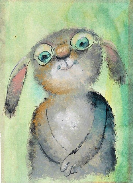 Green-eyed bunny tries his new spectacles ~~~ Artist: Igor Oleynikov