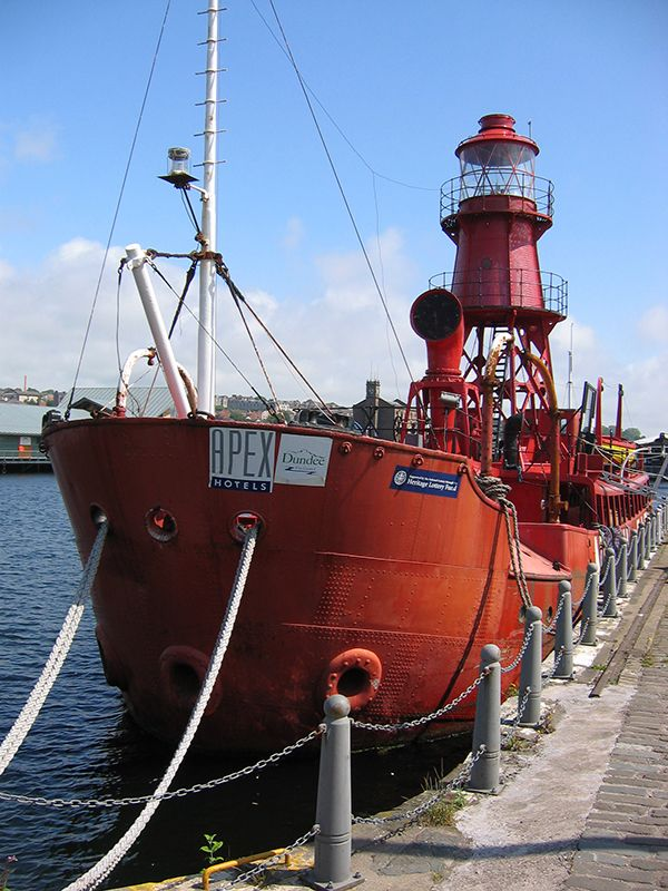 The North Carr light ship moored at Victoria Dock in Dundee