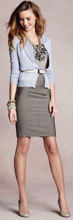 Cardigan and pencil skirt