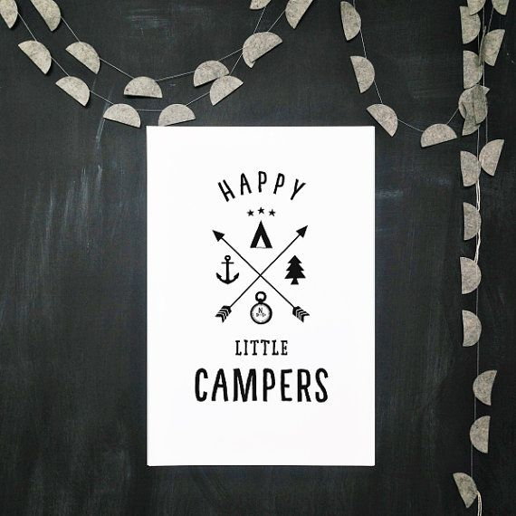HAPPY LITTLE CAMPERS poster, art print, automatic download, arrows, teepee, anchor, 5x7 - 8x10