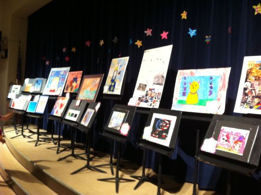 The Reflections art show sponsored by National PTA and run at local levels by each school's PTA. This was our school's first year participating, and the show was seriously stunning!