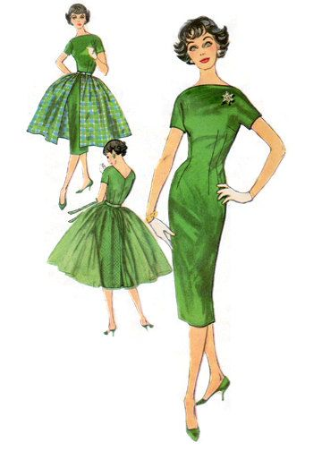 1950s Stunning Sheath Dress with Bateau and V Neck Neckline and Overskirt - Complete Vintage Pattern Copy