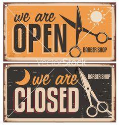 Retro door signs for barber shop vector image on