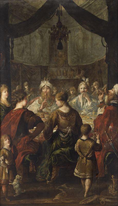 Claude VIGNON (1593-1670)  LE BANQUET CHEZ MÉNÉLAS.  Huile sur toile rentoilée.  Signée en bas à droite: Vignon in. F.  148 x 87,5 cm.
