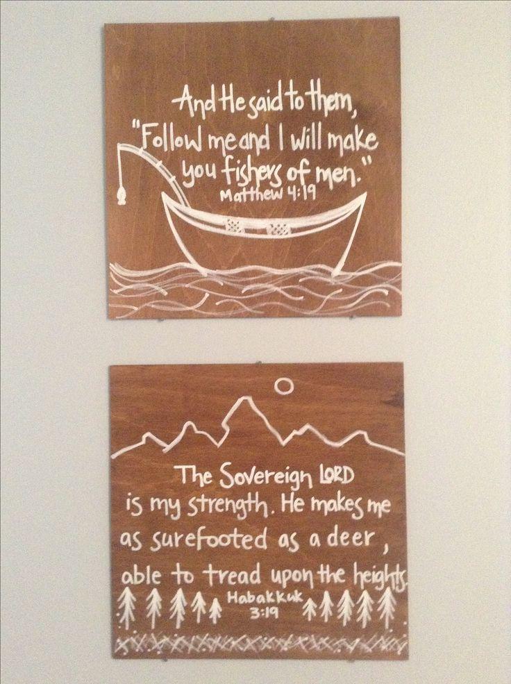 Adorable fishing & hunting verse wall art!