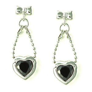 Bow Knot and Bead Chain with Bezel Heart Black CZ Drop Stud Earrings le Jane. $17.00. Save 39%!