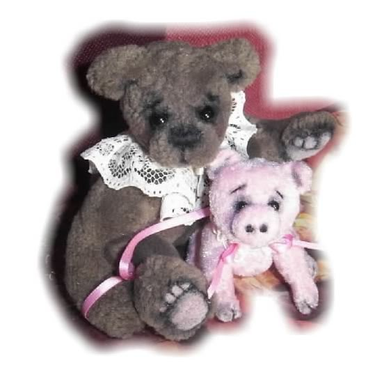 Upholstery fabric jointed mini bear with tiny pet pig.