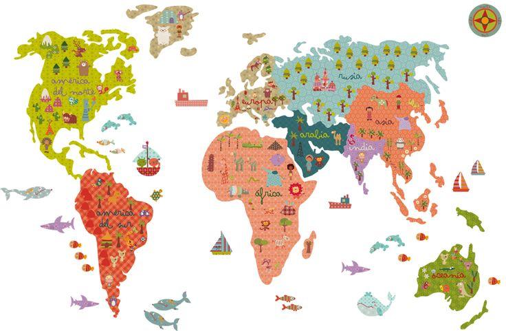 Vinilo de tela mapa mundi un mundo fant stico - Mural mapa mundi ...