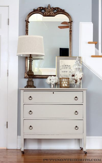 Entryway vignette - love the mirror and lamp. (Copy Cat Challenge ~ More of my Entry Cotton Bols in the apothecary jar)