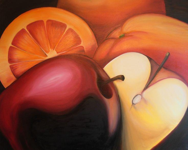 Bodegón con temática de frutos rojos