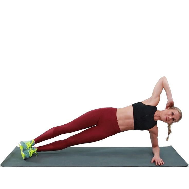Come into a forearm side plank on your left side with your left elbow resting on the floor below your shoulder. Place your right arm behind your head. Rotate your torso toward the floor, bringing your right elbow to meet your left hand. Don't let your hips drop. And remember to do both sides!