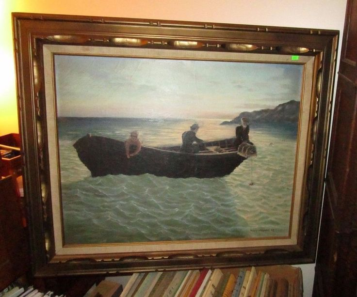 Lobster Fishing Boat Painting W A Richardson Marine Nautical Vintage Oil Canvas #Vintage