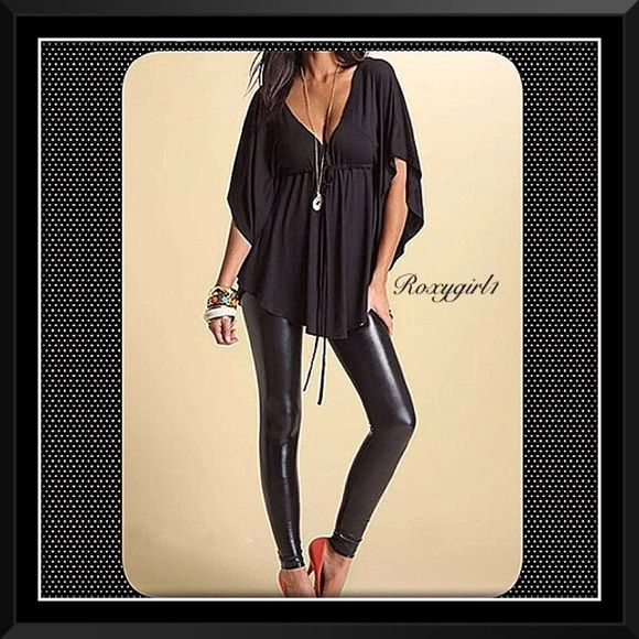 Fabulous Black Batwing Top Fabulous Black Batwing Top Stylish Low Cut Casual Loose V-neck Batwing Sleeve Top with Tie in Front.  Material: Cotton+Polyester Blend Color: Black Size: XXL ~ See 3rd Picture for Measurements Removed from package for photos only! ❌NO TRADE OR PP❌ Boutique Tops
