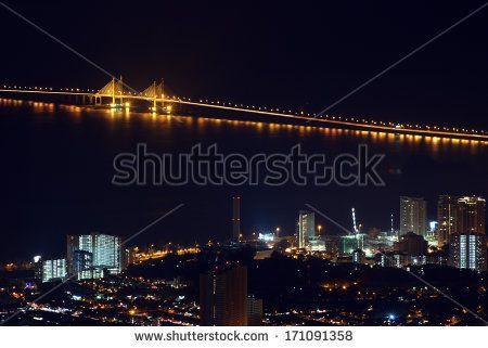 Penang City at Night - stock photo