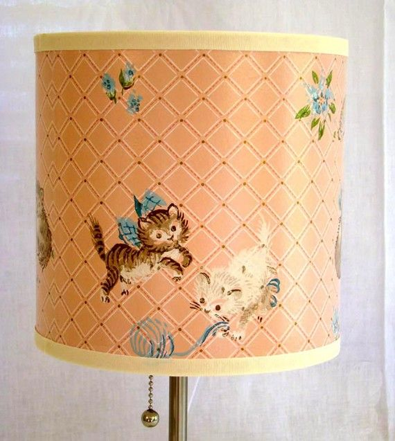 Vintage Wallpaper Drum Shade 1950's Smitten Kittens by Fondue, $40.00