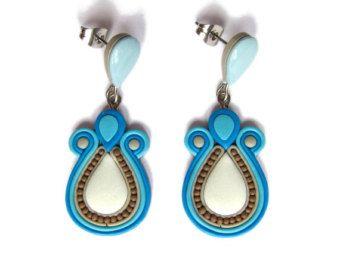 Azul, aretes, pendientes, pendientes, pendientes largos, pendientes de arcilla de polímero, joyería hecha a mano, pendientes de boda, joyería de la boda