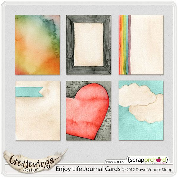 Quality DigiScrap Freebies: Enjoy Life journal cards freebie from Creatwings Designs