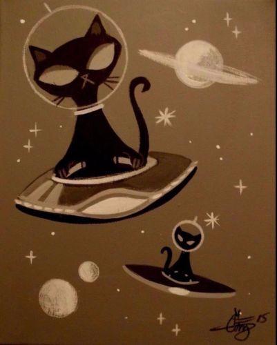 EL GATO GOMEZ PAINTING RETRO 1950S OUTER SPACE SHIP UFO BLACK CATS SCI-FI COMIC in Art,