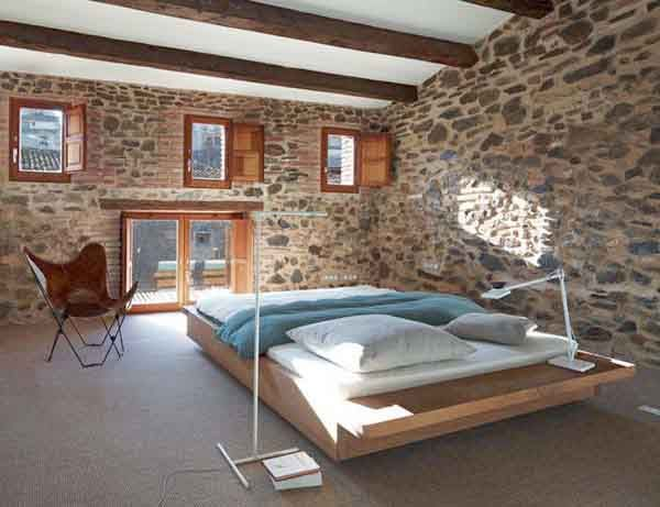 accessories the positive bedroom design with some stones wall decoration and single chair virtual bedroom