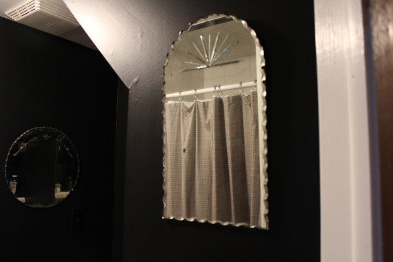Frameless Mirror, Art Deco Mirror, Tombstone Shaped Mirror With Scalloped Edge and Etched Starburst, Small Rectangular Mirror