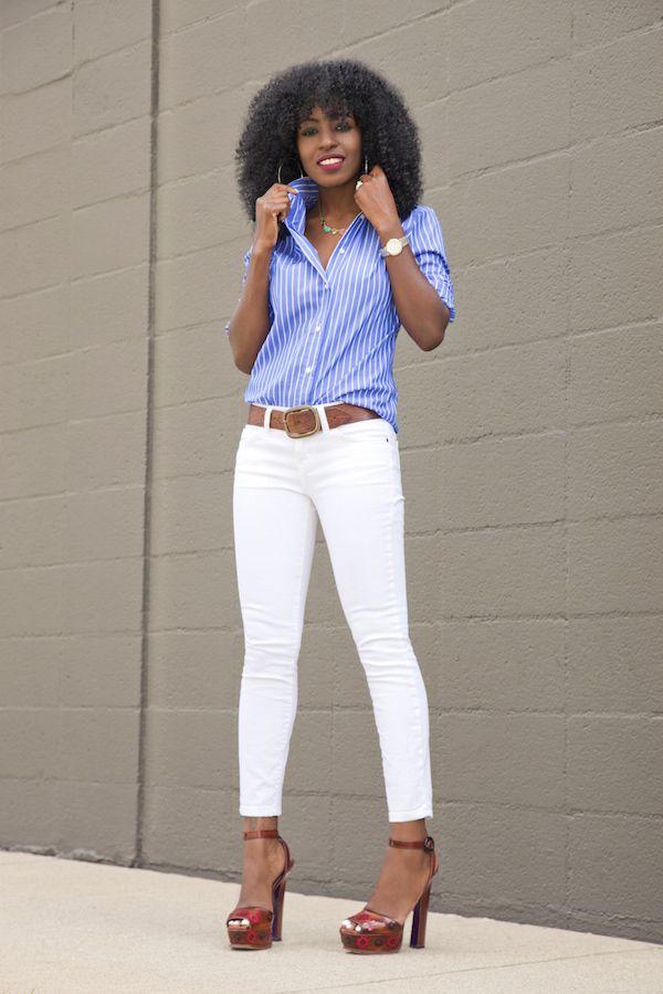 Striped Button-Down Shirt + White Pegged Jeans