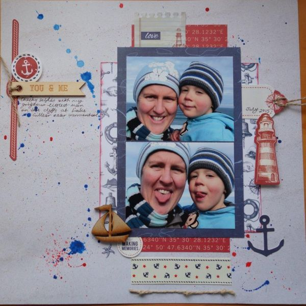 "<p>Loved this sketch! I have used Kiasercraft ""Sail Away"" papers and die cuts, Kaisercraft paint, Kaisercraft wooden title, ink, ribbon, twine, and wood veneer boat.</p>"