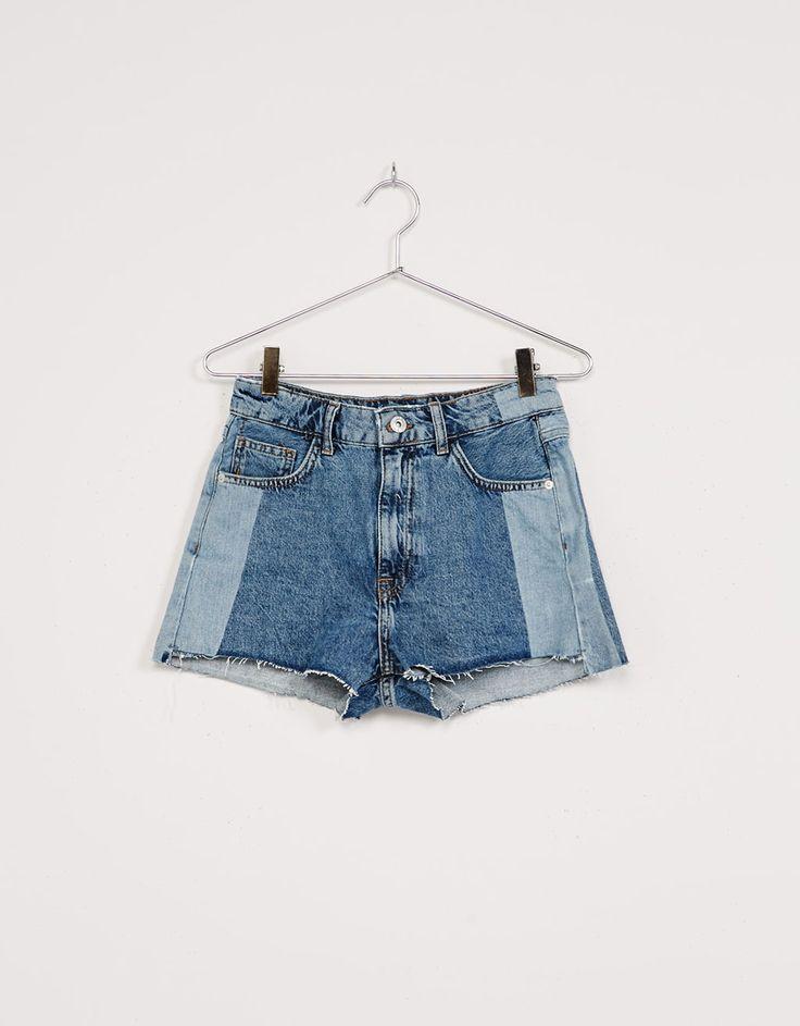 Shorts denim High Waist contrastes. Descubre ésta y muchas otras prendas en Bershka con nuevos productos cada semana