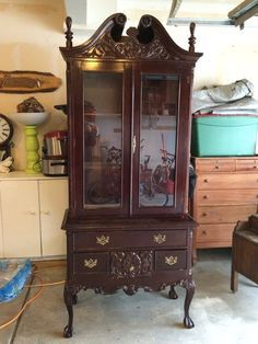Go to following link to see how this beastly French Country Toile Hutch becomes an updated beauty with a good can of paint and the perfect fabric. Next? My china hutch is getting a makeover!!! Great before-and-after pictures.  http://www.hometalk.com/10153725/french-country-toile-hutch