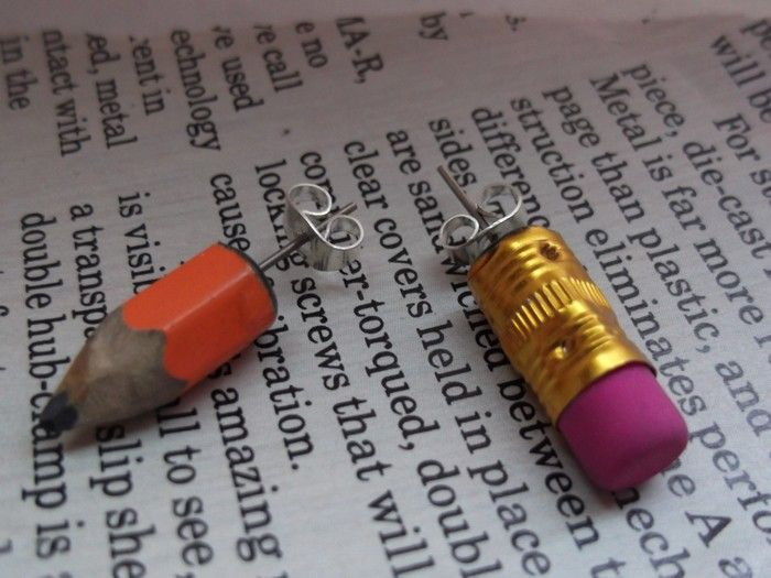 Upcycled Pencil Earrings More