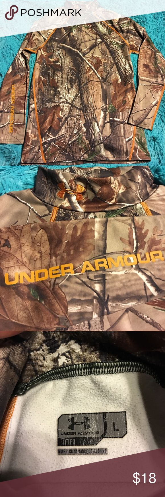 Under Armour hunting camp shirt fitted L Pre-owned Under Armour hunting camo shirt long sleeve. See pics. Large Under Armour Tops Tees - Long Sleeve