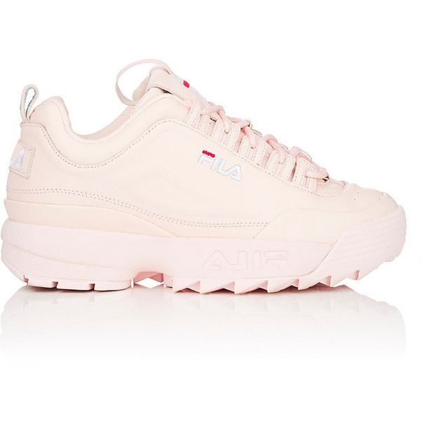 FILA Women's Disruptor 2 Lux Leather Sneakers ($120) ❤ liked on Polyvore featuring shoes, sneakers, leather shoes, round cap, fila sneakers, perforated leather shoes and polka dot sneakers