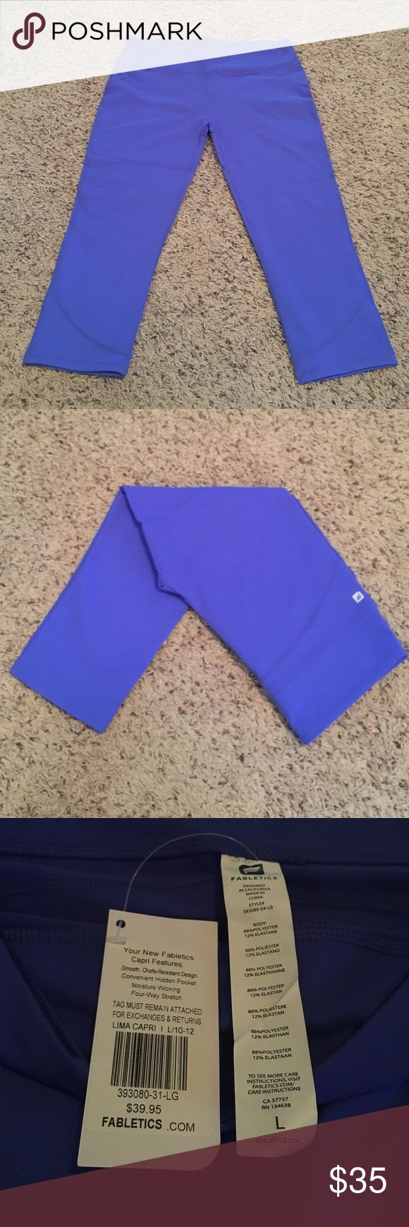 NWT Fabletics Lima Capris in Cobalt Blue Large Fabletics Lima Capri leggings in a beautiful blue color. Soft and comfortable, I accidentally bought 2 pair! Brand new with tags. Fabletics Pants Leggings