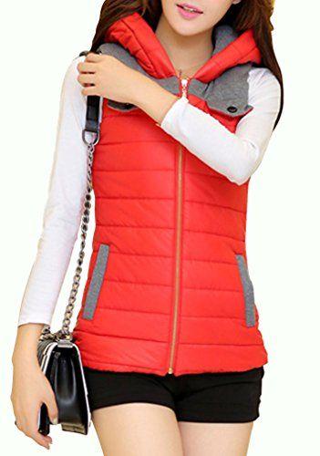 Yasong Women Ladies Girls Zip up Padded Puffa Gilet Bodywarmer Hooded Sleeveless Jacket Orange UK 10 Yasong
