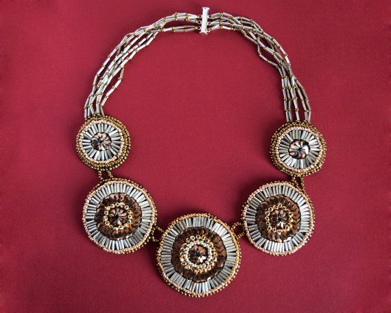 Art Nouveau style silver, golden and copper beaded circles necklace