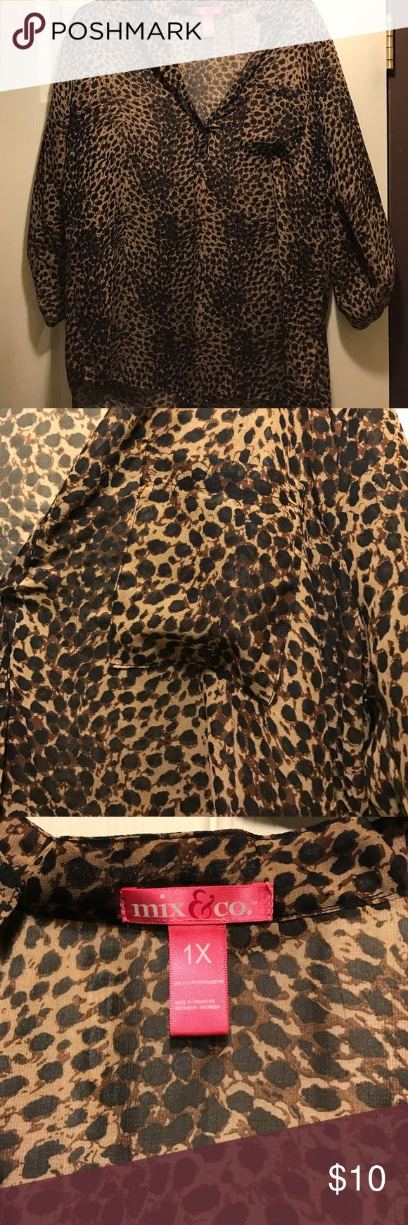 Leopard shirt Sheer leopard shirt, just don't get wore enough, in great condition, fits a size Large-1X Tops