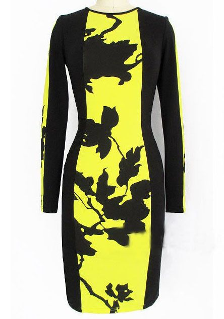 Yellow Black Long Sleeve Floral Bodycon Dress - Sheinside.com