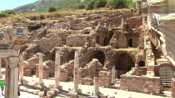 Hillside Houses - Ephesus (Efes) - ancient Greek city in present day Izmir, Turkey - HD stock footage