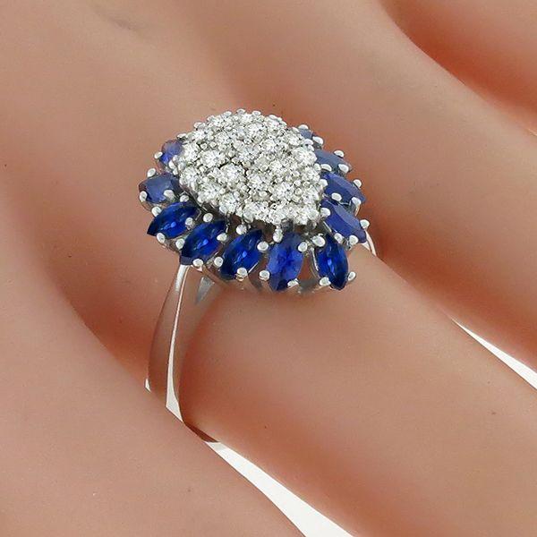 1.25ct Sapphire 0.50ct Diamond Gold Ring