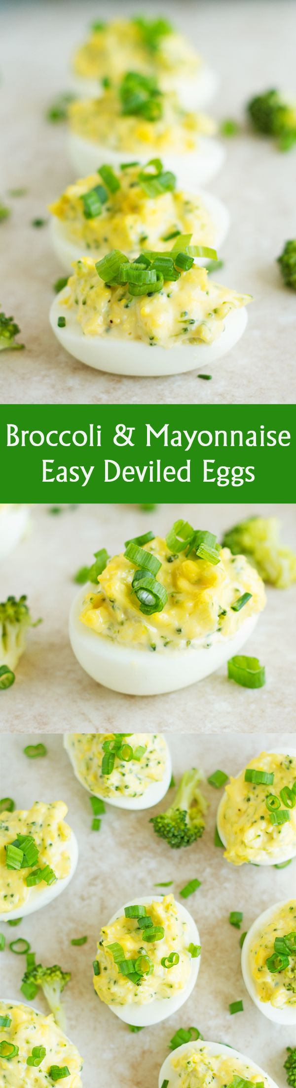 Broccoli & Mayonnaise Easy Deviled Eggs - Vegetarian easy deviled eggs recipe stuffed with broccoli and mayonnaise. This is perfect for Easter, brunch, appetizer or any Party! It can be served with bread of bun by ilonaspassion.com I @Ilona's Passion
