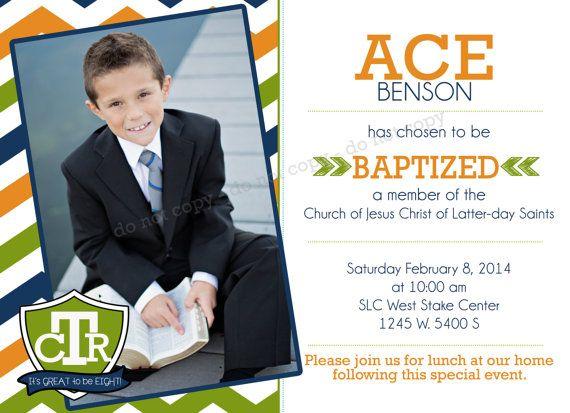 Lds Invitation Ctr Custom Boy Lds Baptism Photo Announcement